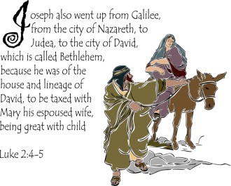 Luke 2:4 5 with Mary and Joseph on a Donkey