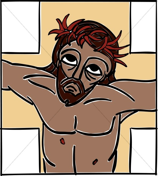 Jesus on Cross with Pierced Skin