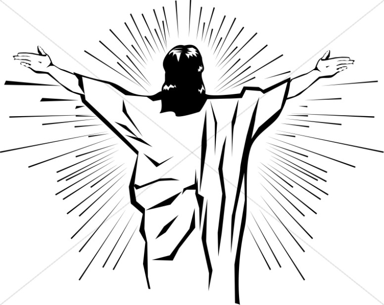 Black and White Jesus from Behind | Jesus Clipart
