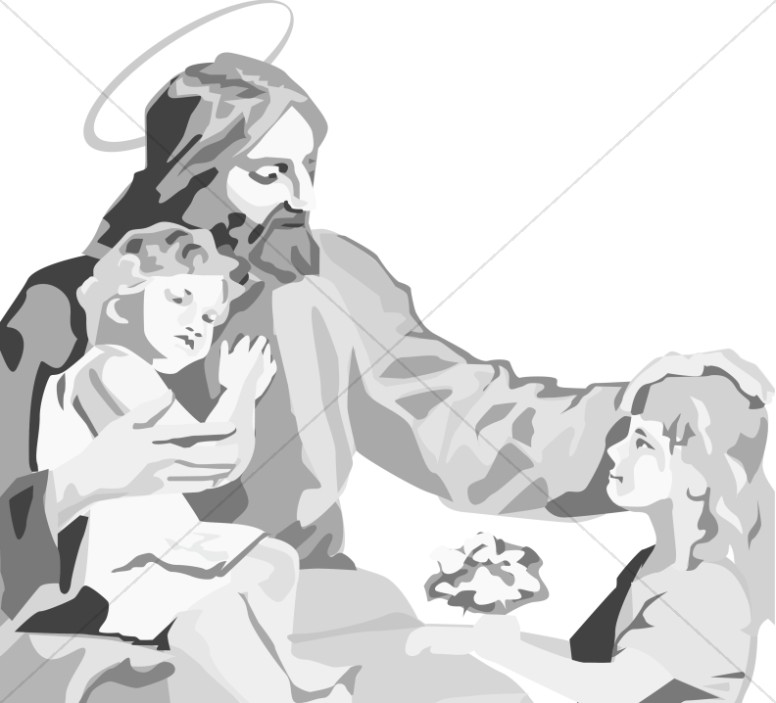 Jesus sitting with Kids