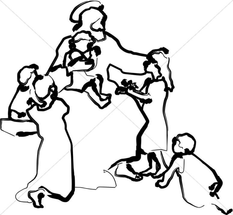 Line Art Jesus Teaching the Children