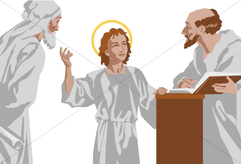 Young Jesus Talks with Priests