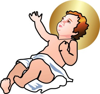 Baby Jesus Lifting Hand to Heaven