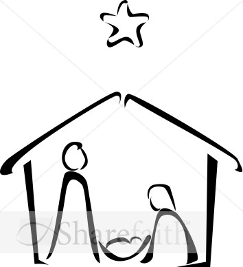 Manger Scene Outline http://www.sharefaith.com/image/black-and-white-nativity-sketch.html