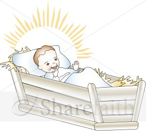 Baby Jesus Laughing in Manger