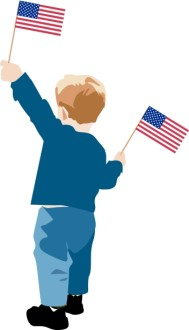 Little Boy with Flags