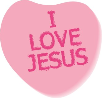 I Love Jesus Text on Candy Heart