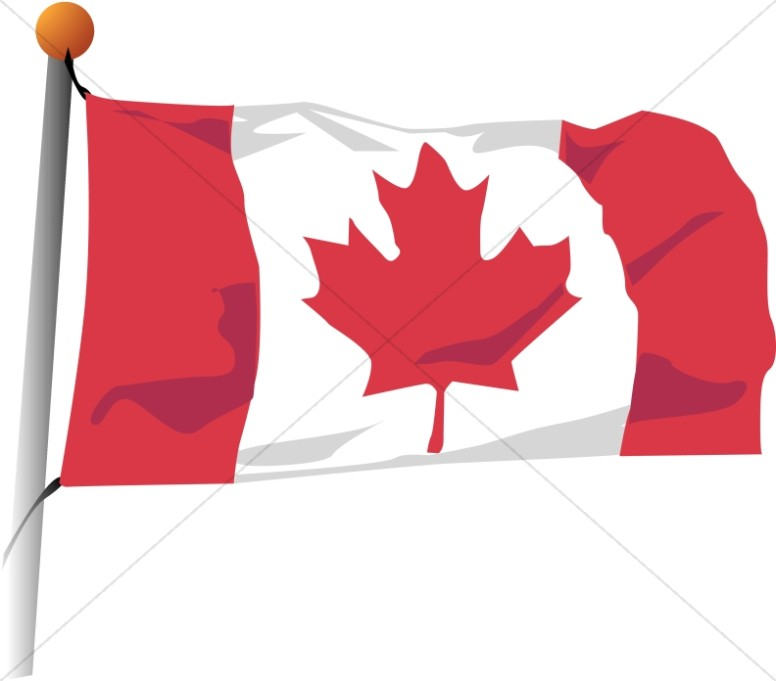 Canadian Flag In The Wind Veteran S Day Clipart