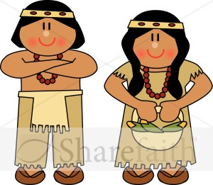 Cute Native American Man and Woman