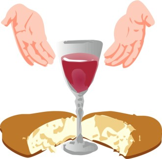 Hands Open Toward Communion Elements