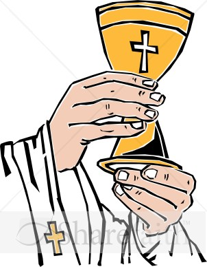 Cross chalice lifted by priest communion clipart