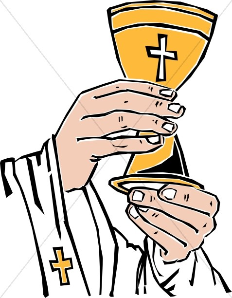 Cross Chalice Lifted By Priest
