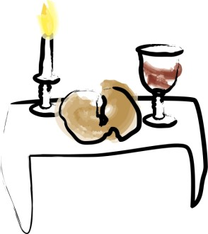 Watercolor Candle with Bread and Wine