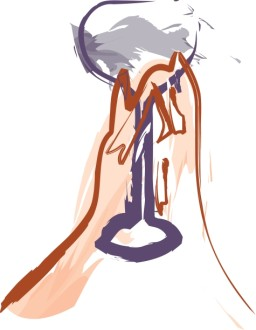 Brushstroke Hands Raising Chalice