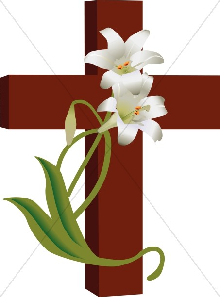 Cross with Lilies Clipart
