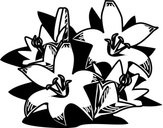 Woodcut Style Easter Lilies