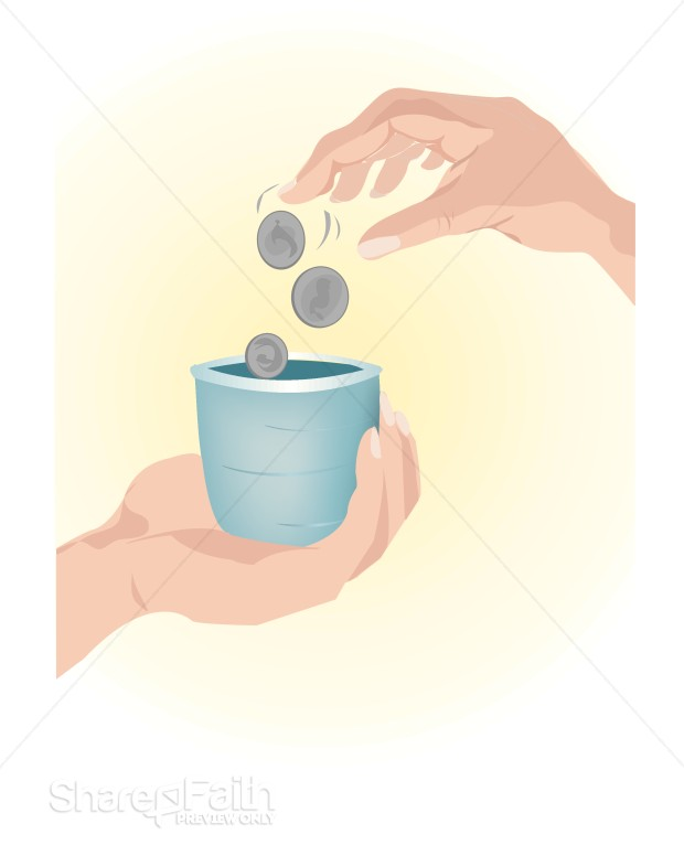 Hands Dropping Charity in a Cup