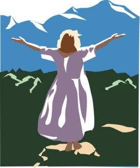 Woman with Arms Lifted in Praise