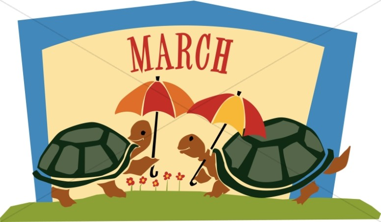Cute Turtles with Umbrellas in March