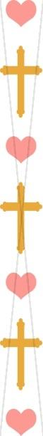 Heart and Gold Cross Column