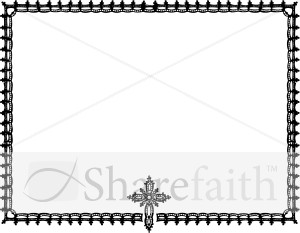 ornate black and white cross horizontal frame religious borders