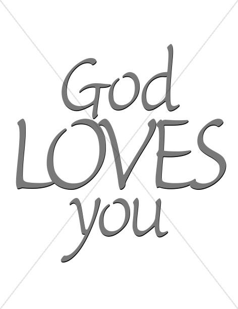 God Loves You Word Art