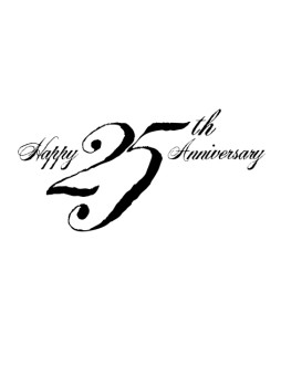 Black 25th Anniversary Wordart