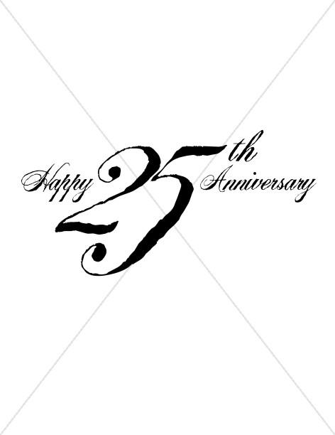 Black 25th Anniversary Wordart