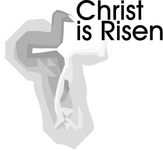 Christ is Risen with cross abstract