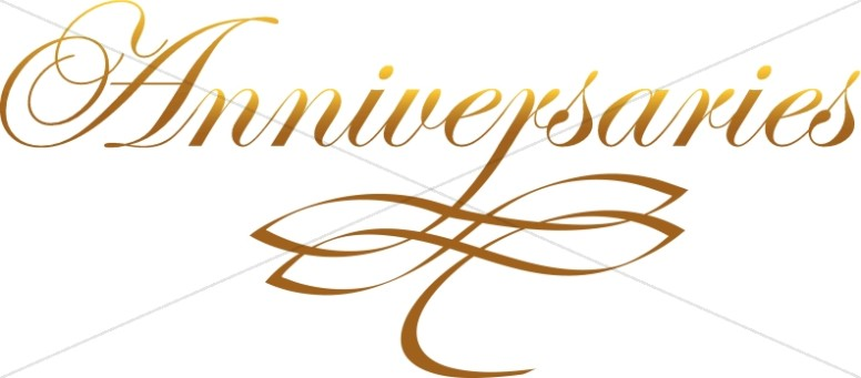 Elegant and Golden Anniversaries Script with Ornament