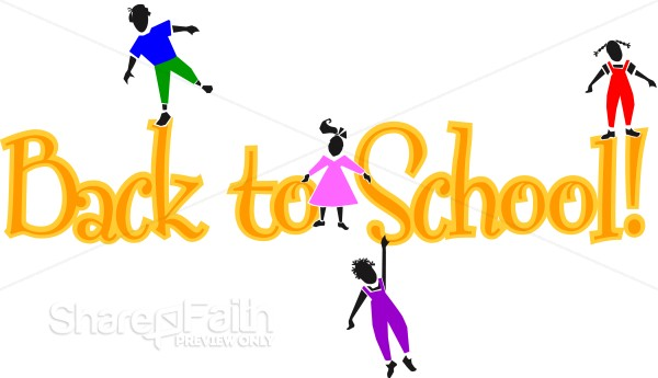 Yellow Back to School Words with Playful Kids