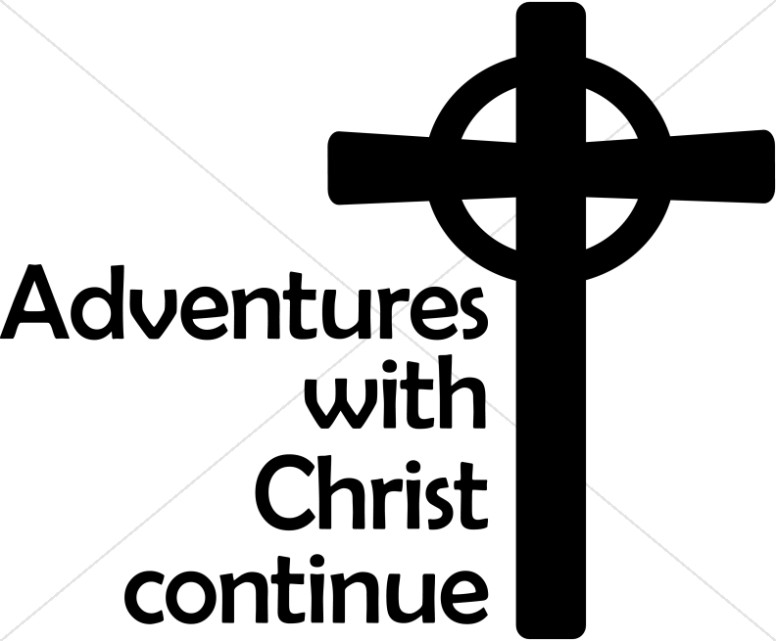 Celtic Cross with Adventures with Christ Continue Lettering