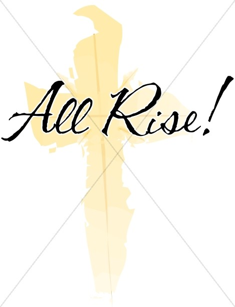 All Rise with Brushstroke Yellow Cross