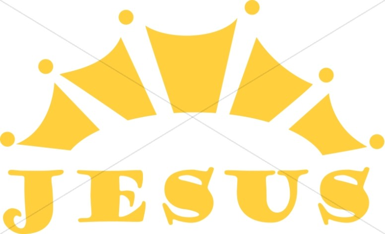Jesus Word Art with Gold Crown