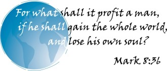 Mark 8:36 over Globe