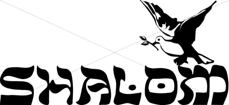 Shalom Hebrew style Wording with Dove Peace Clipart