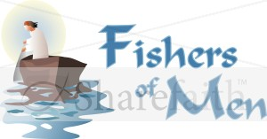 Fishers of Men with Boat | Inspirational Word Art