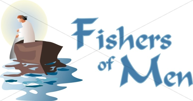 Fishers Of Men With Boat Inspirational Word Art