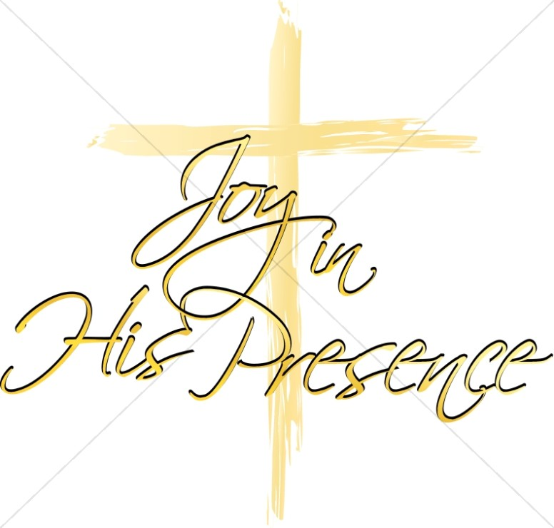 Joy in His Presence Script with Brushstroke Cross