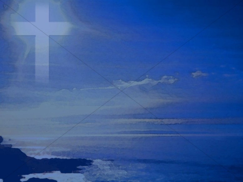 Cross in Blue Sky Over Ocean