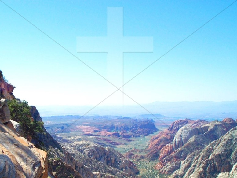 Southwestern Landscape with Cross Watermark