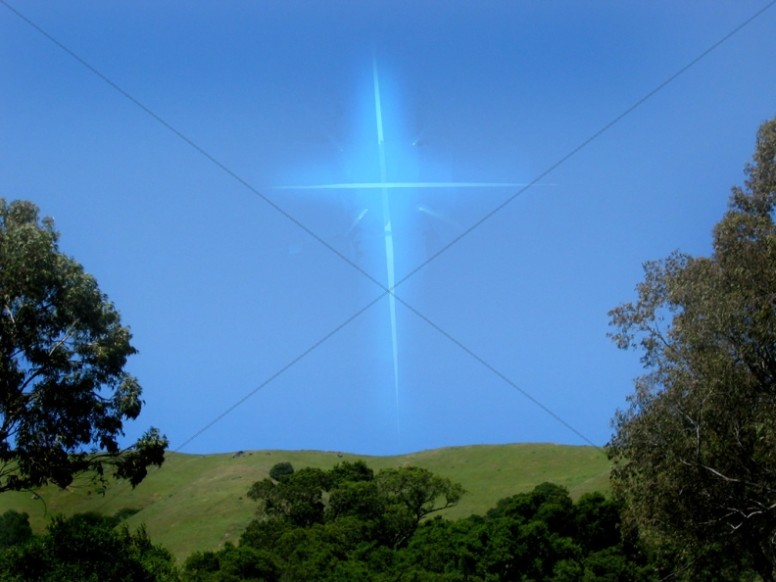 Blue Sky with Glowing Cross
