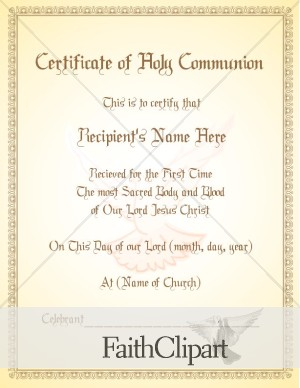 Holy Communion Certificate With Dove Watermark