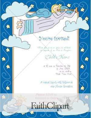 Cute Angel Baptism Invitation