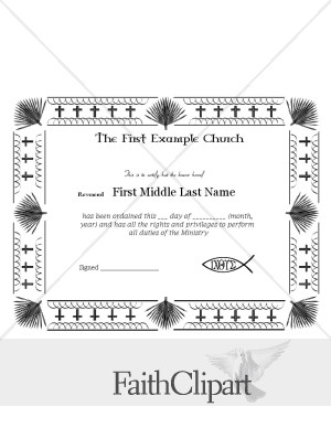 Palm Border Ordination Certificate