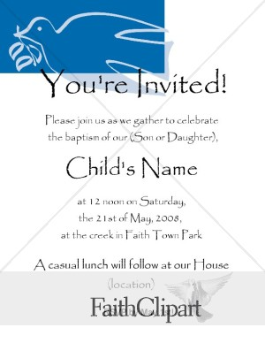 Stylized Dove Baptism Invitation