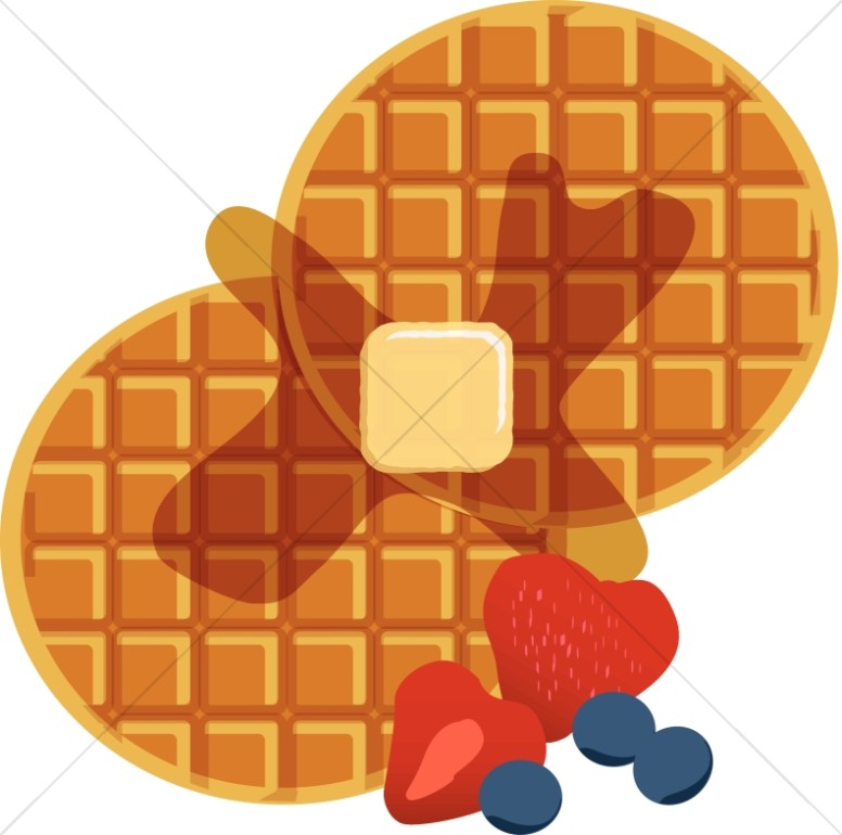 Waffles with Syrup and Berries