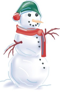 Snowman with Scarf and Cap