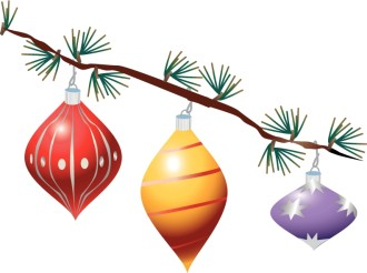 Three Glass Ornaments on Tree Branch