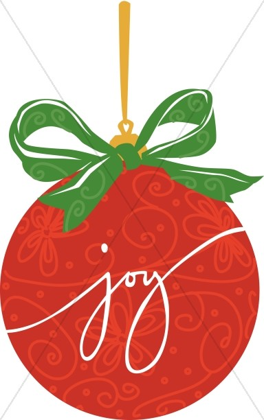 Red JOY Christmas Ornament